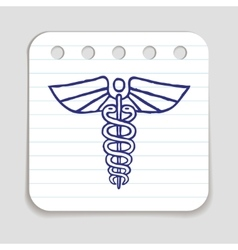 Caduceus emblem doodle icon vector