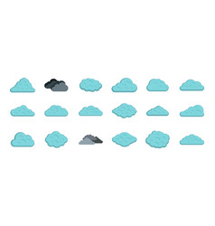 clean cloud icon set flat style vector image vector image