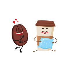 coffee bean and espresso cup characters love for vector image