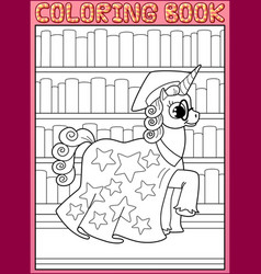 Coloring book page astronomy master unicorn horse vector