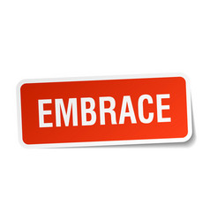 embrace square sticker on white vector image vector image