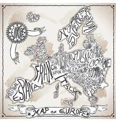 Europe map on vintage handwriting page vector