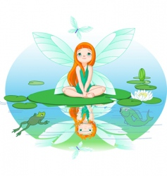 fairy observes for flying butterfly vector image
