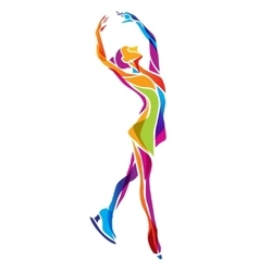 figure ice skating silhouette vector image