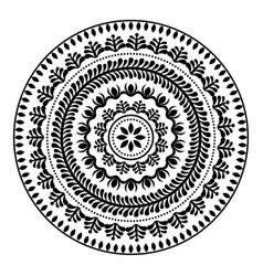 Folk round pattern hippie black mandala boho sty vector