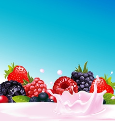 forest fruit with yogurt splash - vector image