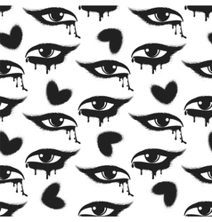 Grunge hearts and tearful eyes pattern vector image