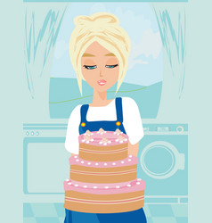 housewife baked the cake vector image