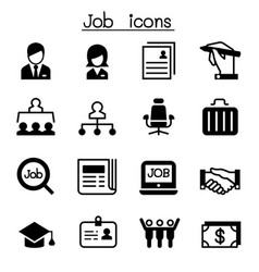 job employment icon set vector image vector image