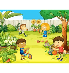 Kids playing in beautiful nature vector image vector image