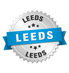 Leeds round silver badge with blue ribbon vector