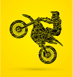 Motorcycle cross jumping freestyle motocross flyi vector