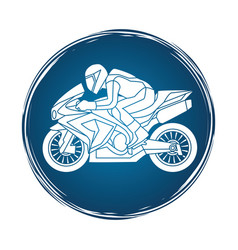 Motorcycle racing side view graphic vector