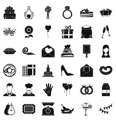 party cake icons set simple style vector image vector image