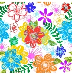 Seamless floral background hand drawn flowers and vector
