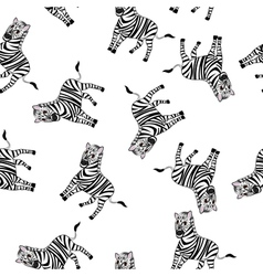 Seamless Funny Cartoon Zebra vector image