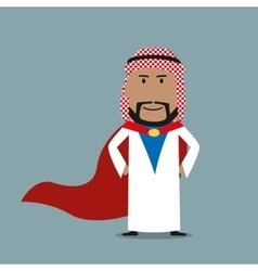 Strong arabian businessman in red cape vector