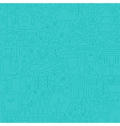 Thin Line Blue Spring and Garden Seamless Pattern vector image vector image