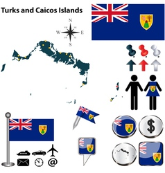 Turks and caicos islands map vector