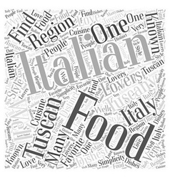 Tuscan Italian Food Word Cloud Concept vector image vector image