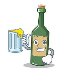 With juice wine bottle character cartoon vector