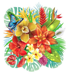 with tropical flowers vector image vector image