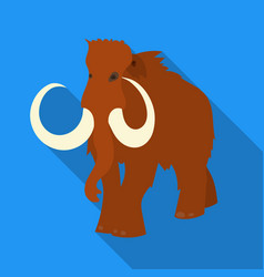 Woolly mammoth icon in flate style isolated on vector