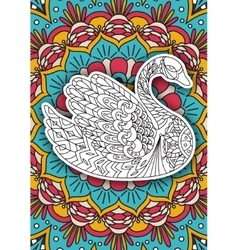 Printable coloring book page for adults - swan vector