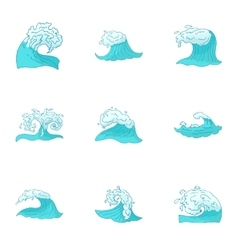 Sea waves icons set cartoon style vector
