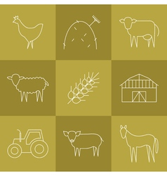 Farming icons set vector