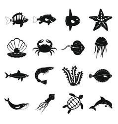 Sea animals icons set simple style vector