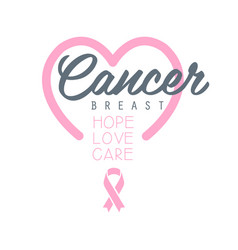 Breast cancer hope love care label with heart vector