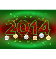2014 sign with christmas tree branches vector