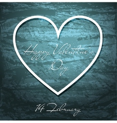 Valentines day grunge background with white heart vector