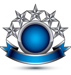 Sophisticated emblem with 5 silver glossy stars vector