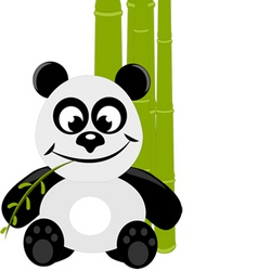 Cute little panda with green bamboo vector