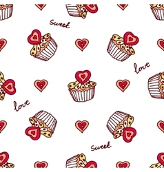 Seamless pattern with doodle heart shaped cookies vector