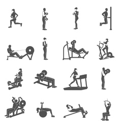 Gym workout people flat vector