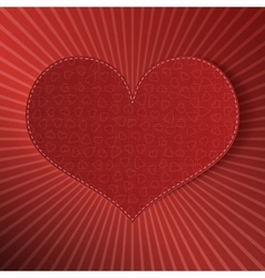 Valentines day realistic textile heart label vector