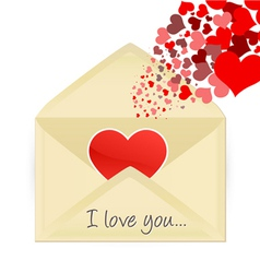 Mail opening with hearts vector