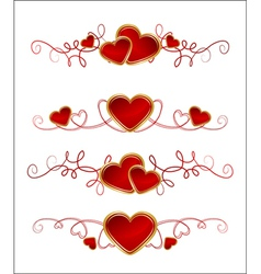 Floral and heart set vector image