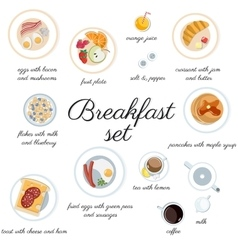 Big breakfast set isolated on white top view vector