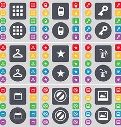 Apps Mobile phone Key Hanger Star Trash can vector image