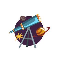 Astronomy symbols spyglass telescope stars and vector