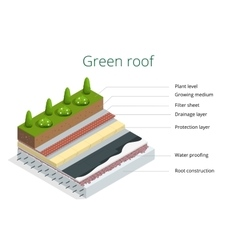 Basic elements of a green roof Flat 3d vector image