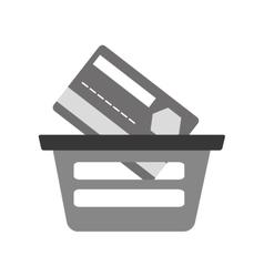 Basket buying online bank credit card digital gray vector