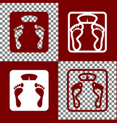 Bathroom scale sign bordo and white icons vector