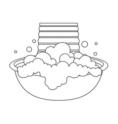 Bowl for washing dry cleaning single icon in vector