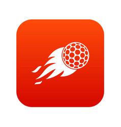 burning golf ball icon digital red vector image