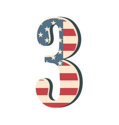 Capital 3d number three with american flag texture vector
